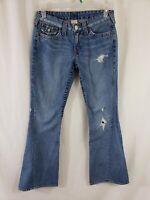 True Religion Joey Womens Denim Blue Jeans Size 30 x 33 Flare Light Wash Flap