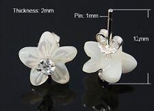 925 Sterling Silver Sea Shell Earring Studs  Flower  White 12x10mm