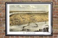 Vintage Cairo, IL Map 1867 - Historic Illinois Art - Old Victorian Industrial