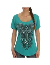 Cowgirl Up Shirt Womens Scoop Neck Cross Graphic 2XL Teal CG1773