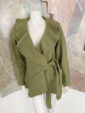Elena Solano Green Ruffle Wool Belted Sweater Size Medium