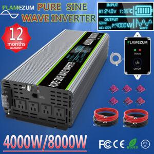 Car Power Inverter 4000W 8000W DC 24V To AC 110V 120V Pure Sine Wave LCD Truck