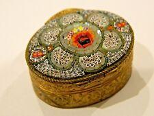 ANTIQUE / VINTAGE ITALIAN MICRO MOSAIC GOLD GILT PILL BOX