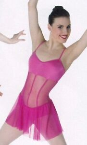 NWT Body Wrappers P745 Dance Skate dress Sheer corset style 2 colors BLK or Pnk