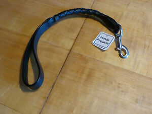 Leather Dog Lead short Leash short Guide Braided 19 11/16in x 0 25/32in Black