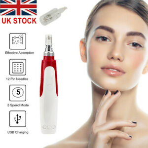 Electric Derma Pen Auto Anti Aging Micro Needle Roller + 2 Cartridges UK
