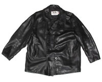 Vintage Schott NYC 740N Black Leather Pea Coat Reefer Jacket Made in USA size 50
