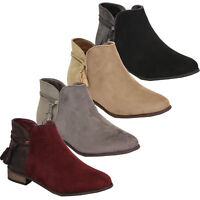 Ladies Chelsea Boots Womens Suede Look Shoes Ankle Zip Tassel Low Heel Biker New
