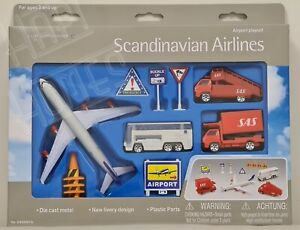 Scandinavian Airlines Airport Playset Kids Children Toys SAS Vehicles Aeroplane