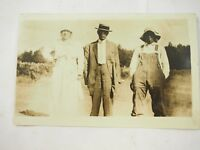 1914 Real Photo Post Card  Black Folks and White Woman at Farm RPPC