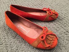 JEFFREY CAMPBELL Size 6M Orange/Tan Suede Moccasin Flat Ibiza Last WORN ONCE