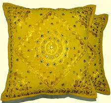 2pc mirror work floor cushion indian pillow cover gypsy pillow antique pillows