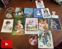 Mothers Children Art Deco Illustration c. 1900-1930 lot x 14 color images