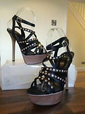 CARVELA KURT GEIGER Black Diamante  High Heels Party Shoes Sandals Size 7
