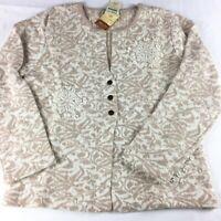 COLDWATER CREEK Women's Size Medium Ivory Beige Gold JACQUARD Cardigan Sweater