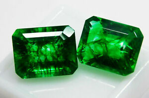 Natural CERTIFIED Emerald 20 Ct Earring's Pair Zambian Loose Gemstone
