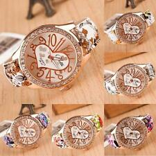 Elegant Women's Love Gift Heart Flower Leather Band Quartz Analog Wrist Watches