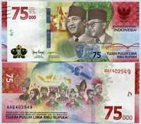 INDONESIA 75000 75,000 RUPIAH 2020 75th COMM. P NEW DESIGN UNC