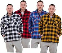 Mens Flannel Padded Work Shirt Yarn Dyed Quilted Lumberjack Jacket Regular & Big