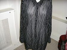 M&S SMART BLACK/WHITE CHIFFON LOOK BLOUSE/SHIRT SIZE 24
