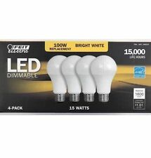 4-Pack FEIT Electric Dimmable LED Bulbs 100 Watt =15W Bright White ~ 3000K