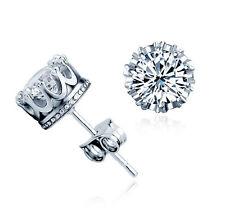 Mens Womens 925 sterling Silver Cubic Zirconia Crystal Crown Ear Stud Earrings