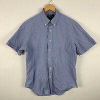 Ralph Lauren Mens Button Up Shirt Size Large 40 Blue Short Sleeve Collared