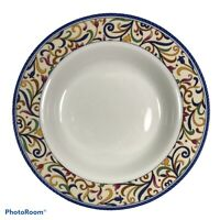 Gibson Designs LYON Rimmed Soup Bowl Scroll and Flowers E5
