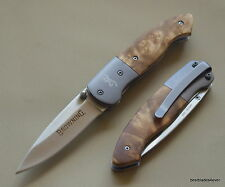 BROWNING BURL WOOD HANDLE LINER-LOCK FOLDING POCKET KNIFE WITH POCKET CLIP