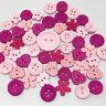 10 Bouton bois mixte 13mm à 25mm fleur coeur rose Scrapbooking Mercerie couture