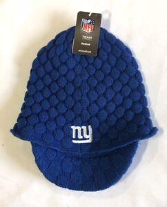 New York Giants Knit Beanie Winter Hat Toque Skull Cap NEW Blue Women Visor Brim