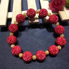 Flower Cinnabar Lacquer bracelet 1 ChinaTraditional Folk Carved