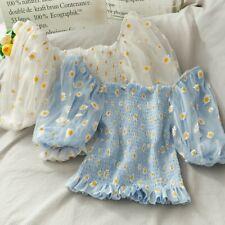 Women Off Shoulder Floral Daisy Crop Blouse Tops Mesh Lolita Puff Sleeves