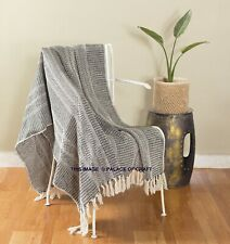 Indian Hand Woven Herringbone Blanket Reversible Soft Warm Sofa Couch Bed Throw