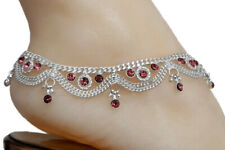 CZPS2- Bollywood Designer CZ Silver Tone Indian Anklets Payal - 1 Pair ( 2 Pcs )