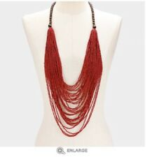 Large Seed Bead Red Long Bib Multi Layered Strand Necklace Chunky Statement Big