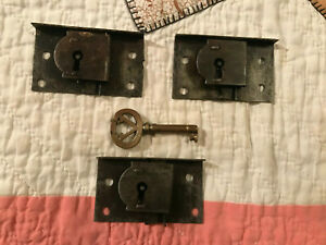 3 Matching Mid 1800's Dresser Drawer Locks & Key, Salvaged Furn. Locks, Free S/H