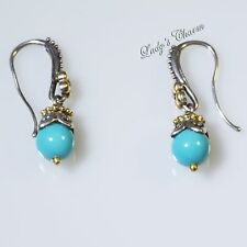 Barbara Bixby Turquoise Bead Dangle Earrings Sterling Silver 18K Gold