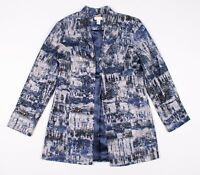 Chicos Blue Silver Open Front Silk Blend Blazer Jacket Size 0 / US S Small