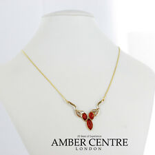 Italian Made Modern Elegant Amber Necklace in 9ct Gold- GN0082 RRP£375!!!