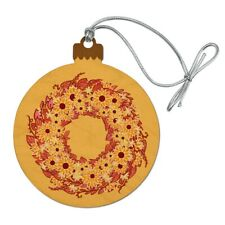 Autumn Fall Wreath Sunflowers Wood Christmas Tree Holiday Ornament