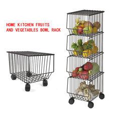 Kitchen Rack Storage Stacking Fruit Vegetable Rolling Basket Stackable 4-Tier US