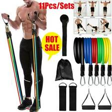 11PCS/Set Pilates Resistance Bands Yoga ABS Exercise Fitness Tube Workout Gym