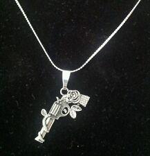 Gun Pistol Rose Fashion Tibetan Charm on Silver Necklace - Gift
