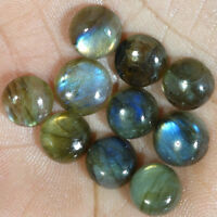 100% NATURAL LABRADORITE ROUND CABOCHON LOOSE GEMSTONE 10 Pcs LOT 08MM,09MM,10MM