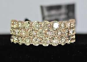 $8K LeVian 14K Rose Strawberry Gold 3 Row Pave 3.1ct Nude Champagne Diamond Ring