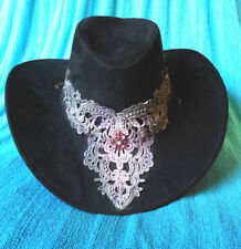 Velvety Black Cowboy Cowgirl SHOW HAT Rodeo Horse Show Dance