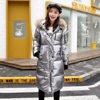 Women's Fur Collar Thick Winter Jacket Metal Color Shiny Warm Long Coat Parks