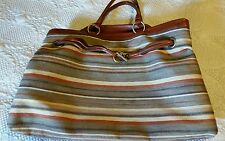 Classy!! Designer Inspired Leather & Textile Luggage Tote Large Purse Bag Italy