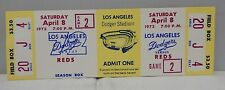 Los Angeles Dodgers Vs Cincinnati Reds Full Ticket Game 2 April 8, 1972 Rare
